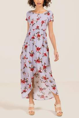 francesca's Siri Smocked Floral Maxi Dress - Orchid
