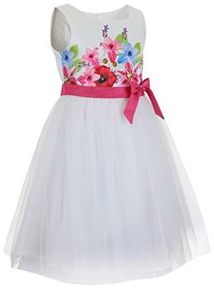 Emma Riley Girls' Flower Bodice Dress with Tulle Skirt 6
