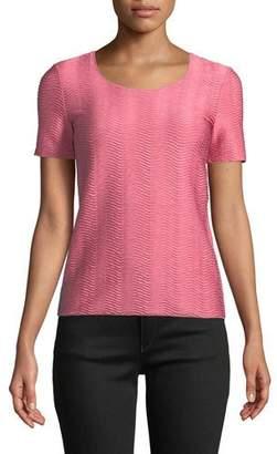 Emporio Armani Short-Sleeve Round-Neck Wave-Jacquard Knit Shell