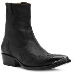 Frye Overlay Western Leather Ankle Boots