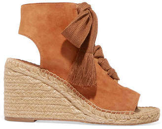 Chloé Harper Lace-up Suede Espadrille Wedge Sandals - Tan