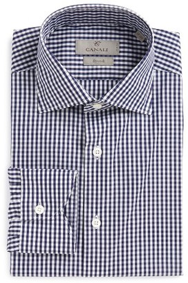 Men's Canali Regular Fit Check Dress Shirt $250 thestylecure.com