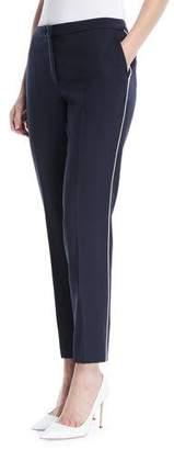Escada Slim Wool-Blend Cropped Pants w/ Piping