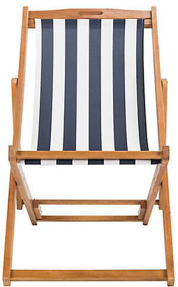 One Kings Lane Loren Deck Chair - Navy/White