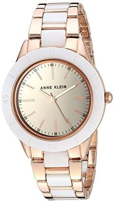 Anne Klein Women's AK/3160WTRG Rose Gold-Tone and White Ceramic Bracelet Watch