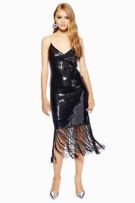 Topshop Sequin Embroidered Strap Fringe Dress