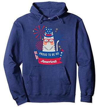 SAM. Americat 4th of July Hoodie-Proud Uncle Cat USA Pullover