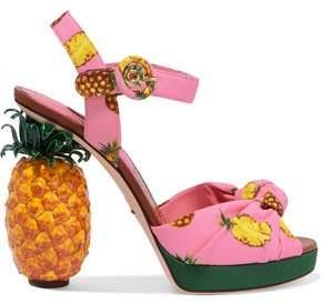 Dolce & Gabbana Knotted Printed Crepe Platform Sandals
