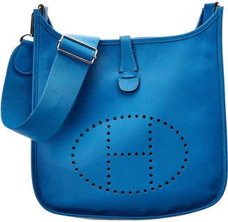 Hermes Blue Izmir Epsom Leather Evelyne Iii Pm