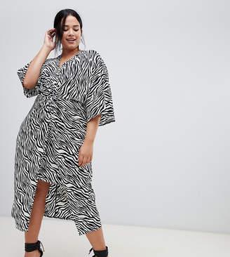Asos DESIGN Curve kimono dress in midi length in zebra print