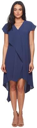 Adrianna Papell Gauzy Crepe V-Neck Ruffle Dress Women's Dress