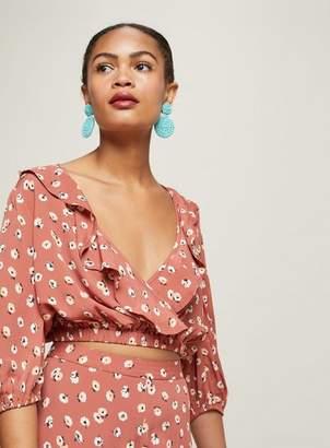 Miss Selfridge Rust ruffle wrap blouse