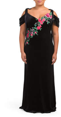 Plus Embroidered Cold Shoulder Gown