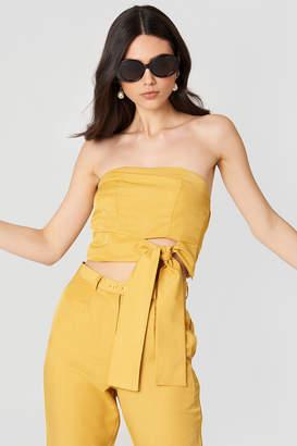 MinkPink Tie Front Strapless Crop Top Golden Yellow