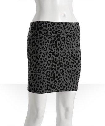 Necessary Objects grey stretch leopard print mini pencil skirt