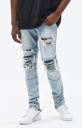 Moto Pacsun Stacked Skinny Ripped Light Jeans