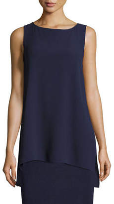 Eileen Fisher Bateau-Neck Silk Georgette Crepe Shell, Plus Size