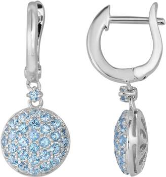 Swarovski Oro Leoni Sterling Silver Blue Topaz Disc Drop Earrings - Made with Genuine Gemstones