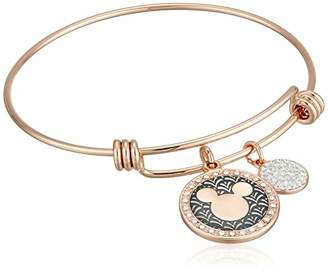 Disney Women's Rose Gold-Tone Stainless Steel Adjustable Bangle Bracelet with Plated Mickey Laughter is Timeless Charm