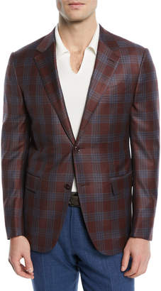 Ermenegildo Zegna Plaid Two-Button Wool Blazer