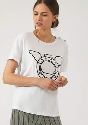Emporio Armani Vinyl Logo Print T-Shirt With Shoulder Buttons