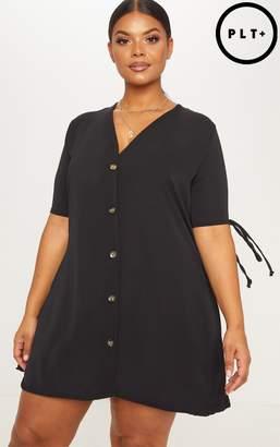 PrettyLittleThing Plus Black Tie Sleeve Tortoise Shell Button Front Smock Dress