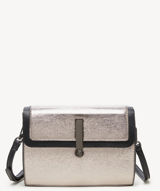 Sole Society Women's Nata Crossbody Vegan Bag Pewter Combo Vegan Leather From