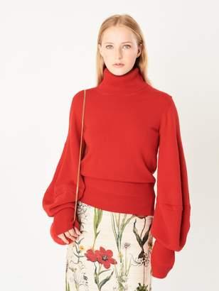 Oscar de la Renta Balloon-Sleeve Wool Pullover
