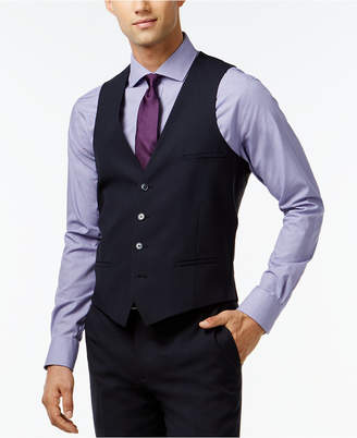 Bar Iii Navy Solid Extra Slim-Fit Vest $100 thestylecure.com