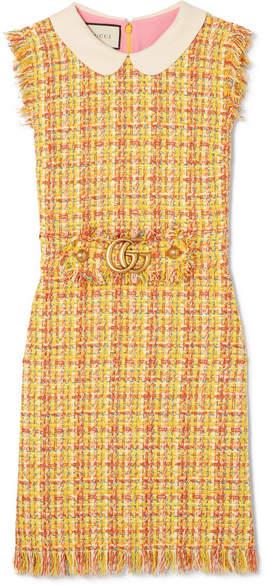 Gucci - Frayed Tweed Mini Dress - Yellow