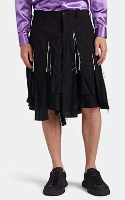 Comme des Garcons Men's Fringed Wide-Leg Shorts - Black