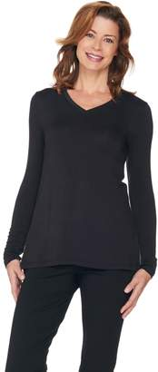 Halston H By H by Essentials V-Neck Long Sleeve Knit Top
