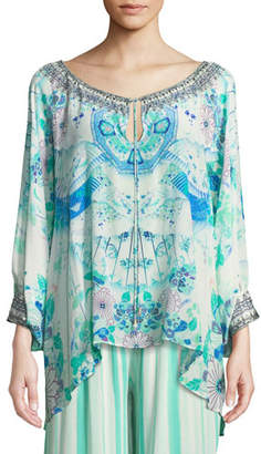 Camilla Floral Silk Raglan-Sleeve Blouse