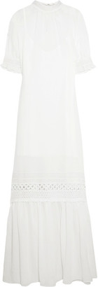 McQ Alexander McQueen - Guipure Lace-trimmed Gauze Maxi Dress - IT40 $695 thestylecure.com