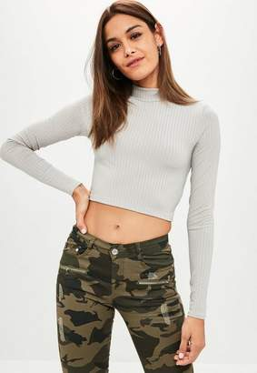 Missguided Gray Ribbed Long Sleeve Crop Top