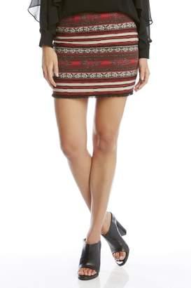 Fifteen-Twenty Fifteen Twenty Fringe-Hem Jacquard Skirt