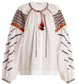 Vita Kin - Romania Embroidered Mid Weight Linen Blouse - Womens - White Multi