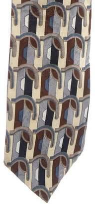 Oscar de la Renta Geometric Print Silk Tie