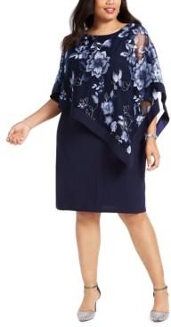 R & M Richards Plus Size Embroidered Cape Dress