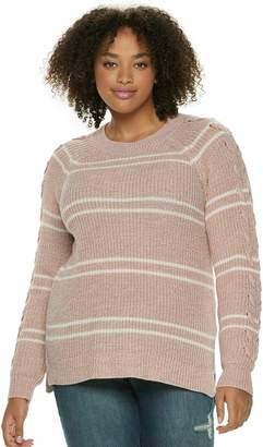 So Juniors' Plus Size SO Lace-Up Sleeve Sweater