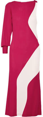 Tome Asymmetric Two-tone Crepe Midi Dress - Fuchsia