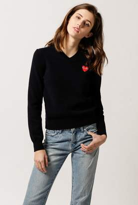 Comme des Garcons Women's Play V-Neck Pullover Sweater