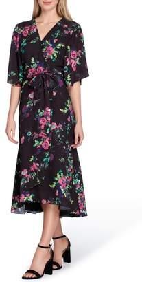 Tahari Floral Faux Wrap Midi Dress