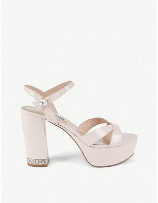 Miu Miu Crystal-embellished patent leather platform sandals