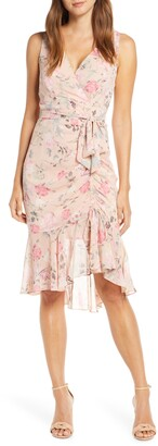 Eliza J Floral Ruched Chiffon Sheath Dress
