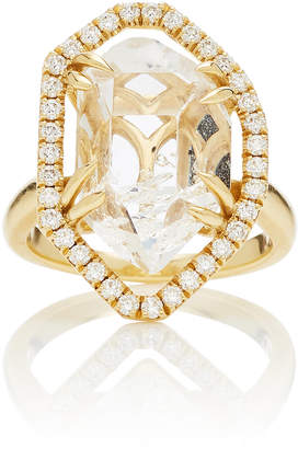 Ark 18K Gold Crystal And Diamond Ring