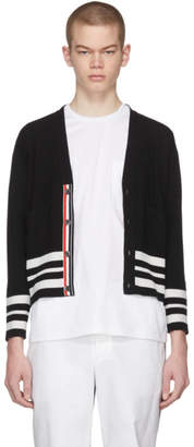 Thom Browne Black Cashmere Cricket Stripe Classic Short V-Neck Cardigan