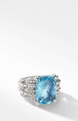 David Yurman Tides Blue Topaz Statement Ring with Diamonds