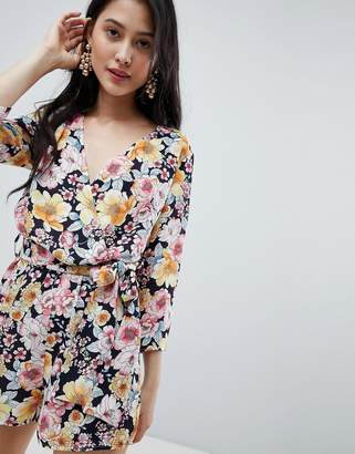 9aeae0ab8e Oh My Love Wrap Front 3 4 Sleeve Playsuit In Floral Print