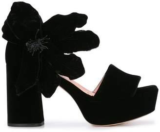 Rochas velvet open toe platform sandals